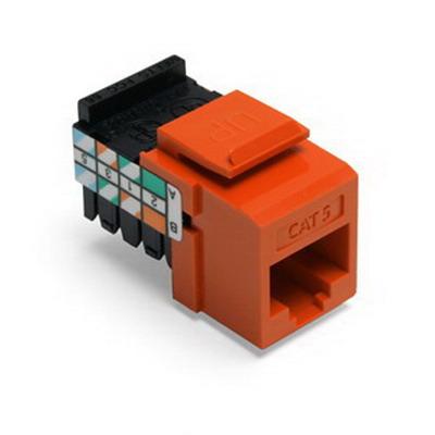 Leviton 41108-RO5 QuickPort® Category 5 RJ45 Jack; Snap-In/Surface/Flush Mount, 8P8C, Orange