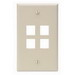 Leviton 41080-4IP 1-Gang Standard Wallplate; Box, (4) Port, High Impact Flame Retardant Plastic, Ivory