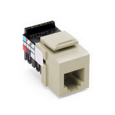 Leviton 41106-RI6 QuickPort® 110 Punchdown USOC and Voice Grade Modular Jack; 6P6C, Ivory