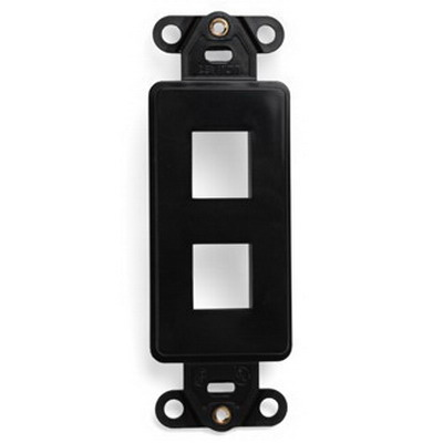 Leviton 41642-E 1-Gang Multimedia Insert; Flush, (2) Port, High Impact Flame Retardant Plastic, Black