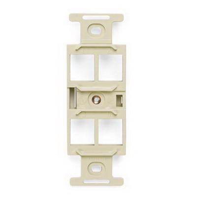 Leviton 41087-QIP 1-Gang Duplex Insert; Flush, (4) Port, High Impact Flame Retardant Plastic, Ivory