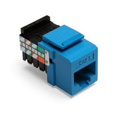 Leviton 41108-RL5 GigaMax® QuickPort® Category 5 RJ45 Jack; Snap-In/Surface/Flush Mount, 8P8C, Blue