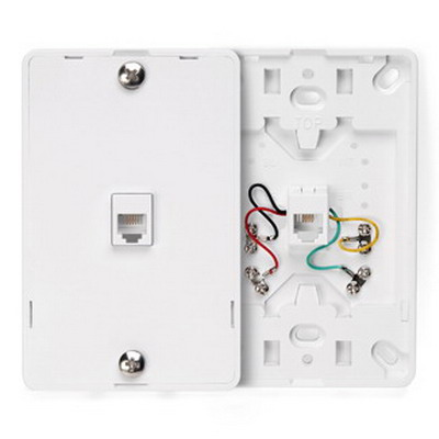 Leviton 40914-W Decora® Wall Plate Jack; Wall Phone/Surface Mount, 6P4C, White