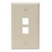 Leviton 41080-2IP 1-Gang Standard Wallplate; Box, (2) Port, High Impact Flame Retardant Plastic, Ivory