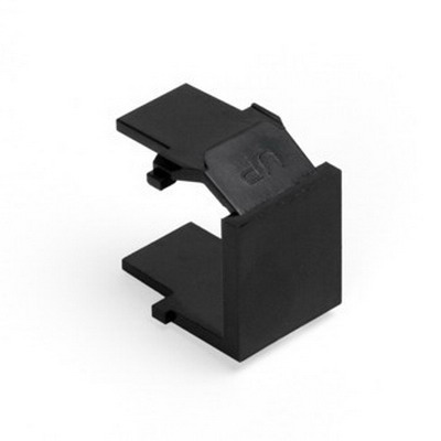 Leviton 41084-BEB QuickPort® Blank Insert; Snap-In Mount, High Impact Fire-Retardant Plastic, Black