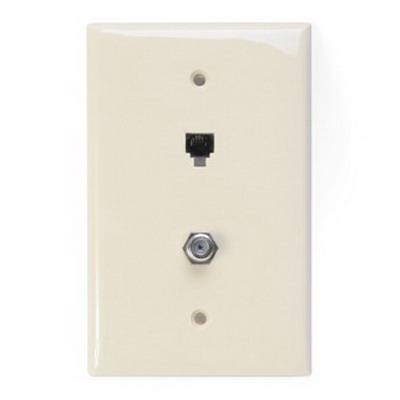 Leviton 40539-CMT 1-Gang Midway Wallplate; Flush/Screw Terminal, (1) 6P4C F-Type Connector, Nylon, Light Almond