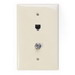 Leviton 40539-CMT 1-Gang Midway Wallplate; Flush/Screw Terminal, (1) 6P4C F-Type Connector, Nylon, Light Almond