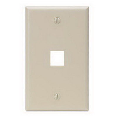 Leviton 41080-1IP 1-Gang Standard Wallplate; Box, (1) Port, High Impact Flame Retardant Plastic, Ivory