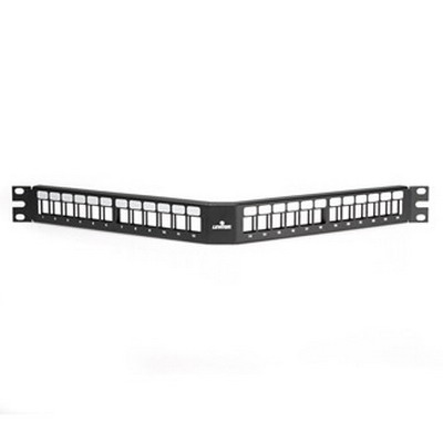 Leviton 49256-H24 QuickPort® Field-Configurable Angled Patch Panel; Rack Mount, 24-Port, 1-Rack Unit, Black