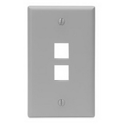 Leviton 41080-2GP 1-Gang Standard Wallplate; Box, (2) Port, High Impact Flame Retardant Plastic, Gray
