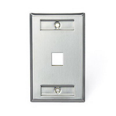 Leviton 43080-1L1 1-Gang Standard Wallplate With Designation Window; (1) Port, 304 Stainless Steel