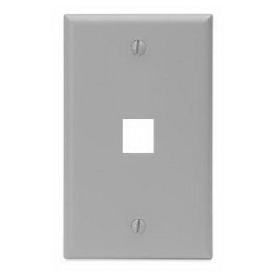Leviton 41080-1GP 1-Gang Standard Wallplate; Box, (1) Port, High Impact Flame Retardant Plastic, Gray