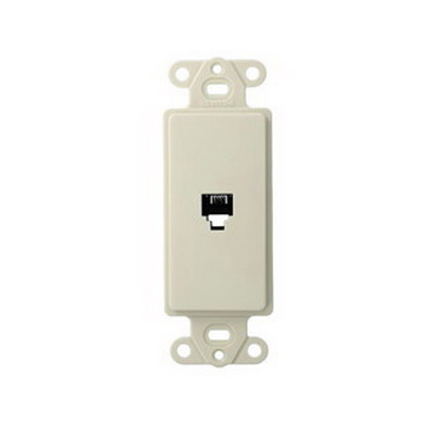 Leviton 40649-T Decora® Wallplate; Wall/Screw, (1) 6P4C Jack, High Impact Plastic, Almond