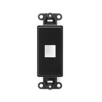 Leviton 41641-E Multimedia Insert; Flush, (1) Port, High Impact Flame Retardant Plastic, Black