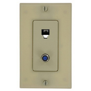 Leviton 40159-I Decora® 1-Gang Wallplate; Screw, (1) 6P4C F-Type Connector, Ivory