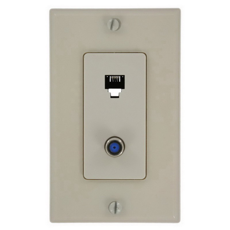 Leviton 40159-T Decora® 1-Gang Wallplate; Screw, (1) 6P4C F-Type Connector, Almond