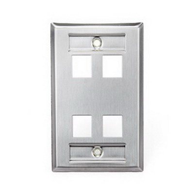 Leviton 43080-1L4 1-Gang Standard Wallplate With Designation Window; (4) Port, 304 Stainless Steel
