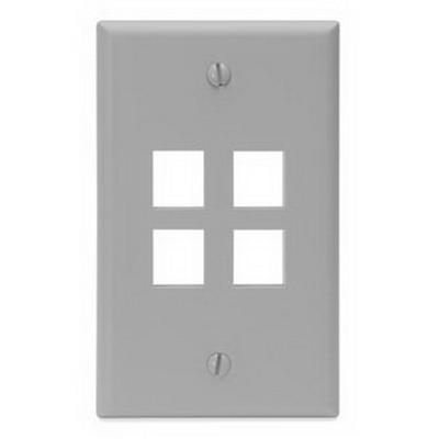 Leviton 41080-4GP 1-Gang Standard Wallplate; Box, (4) Port, High Impact Flame Retardant Plastic, Gray