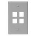 Leviton 41080-4GP 1-Gang Standard Wallplate; Box, (4) Port, High Impact Flame Retardant Plastic, Gray