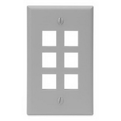 Leviton 41080-6GP 1-Gang Standard Wallplate; Box/Flush, (6) Port, High Impact Flame Retardant Plastic, Gray