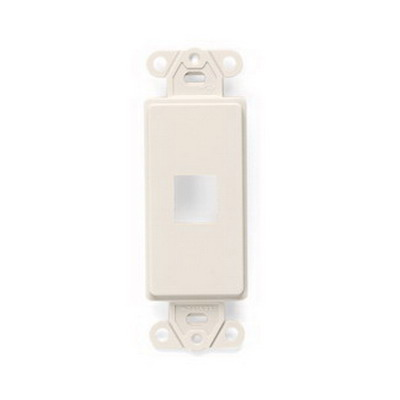 Leviton 41641-T QuickPort® Decora® Multimedia Insert With Plate; 1.290 Inch Length x 0.220 Inch Width x 3.810 Inch Height, Plastic, Light Almond, 1 Port, Wall Mount