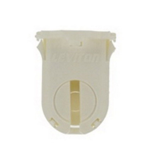 Leviton 23661-SWP T8/T12 Shunted Fluorescent Lampholder; 600 Volt, 660 Watt, Bottom Snap-In With Post Mount, White