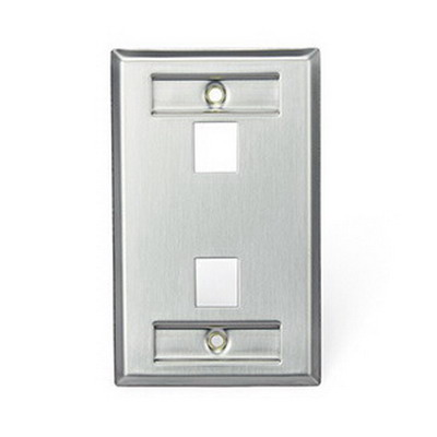 Leviton 43080-1L2 1-Gang Standard Wallplate With Designation Window; (2) Port, 304 Stainless Steel