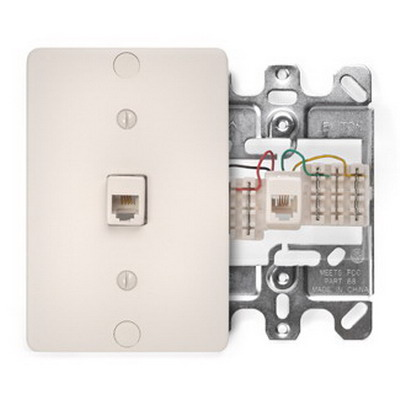 Leviton 40253-T 1-Gang Wallplate; Wall Phone/Surface, (1) 110 Type Quick-Connect 6P6C Jack, High Impact Plastic, Light Almond