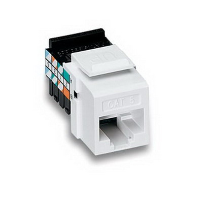 Leviton 40838-BW QuickPort® Category 5e Modular Jack; Snap-In/Surface/Flush Mount, 8P, White
