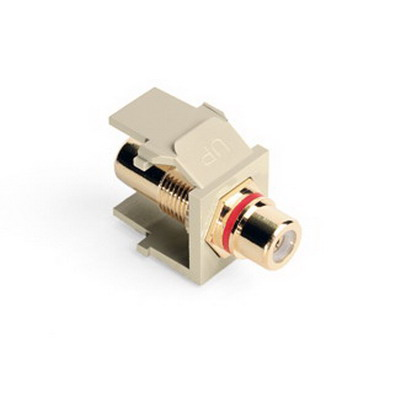 Leviton 40830-BIR QuickPort® RCA Feedthrough Female Connector; Snap-In Mount, Ivory