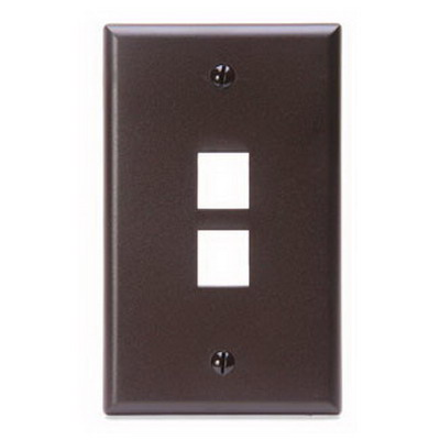 Leviton 41080-2BP 1-Gang Standard Wallplate; Box/Flush, (2) Port, High Impact Flame Retardant Plastic, Brown