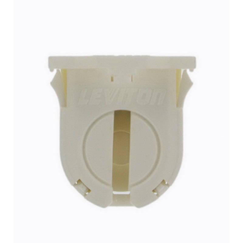 Leviton 13662-SWP T8 Fluorescent Lampholder; 600 Volt, 660 Watt, Snap-In With Post Mount, White
