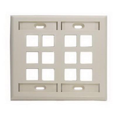 Leviton 42080-12I 2-Gang Standard Wallplate With ID Window; Box/Flush, (12) Port, High Impact Flame Retardant Plastic, Ivory