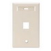 Leviton 42080-1TS 1-Gang Standard Wallplate With ID Window; Flush, (1) Port, High Impact Flame Retardant Plastic, Light Almond