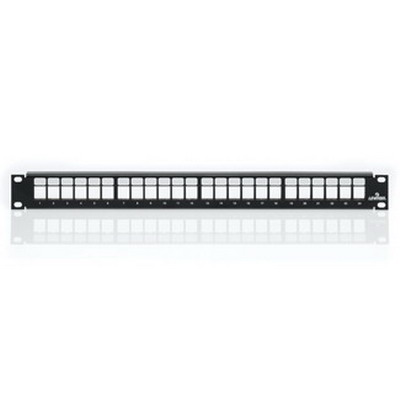 Leviton 49255-H24 QuickPort® Multimedia Patch Panel & Management Bar; Rack Mount, 24-Port, 1-Rack Unit, Black