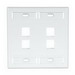 Leviton 42080-4WP 2-Gang Standard Wallplate With ID Window; Box/Flush, (4) Port, High Impact Flame Retardant Plastic, White