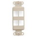 Leviton 41644-I Multimedia Insert; Flush, (4) Port, High Impact Flame Retardant Plastic, Ivory