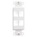 Leviton 41644-W Multimedia Insert; Flush, (4) Port, High Impact Flame Retardant Plastic, White