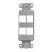 Leviton 41644-GY Multimedia Insert; Flush, (4) Port, High Impact Flame Retardant Plastic, Gray