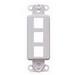 Leviton 41643-GY Multimedia Insert; Flush, (3) Port, High Impact Flame Retardant Plastic, Gray