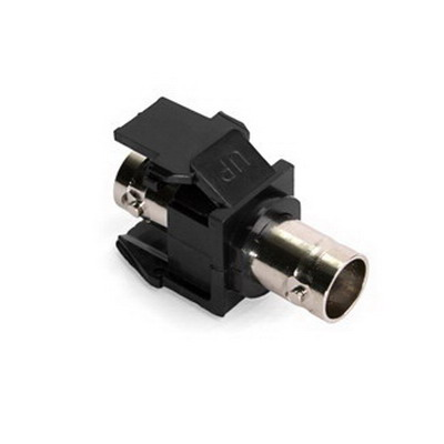 """""""""""Leviton 41084-BEF QuickPort BNC Feed-Through Connector Snap-In Mount, Nickel-Plated Finish, Black, 50 Ohm, Shielded Video and Data Cable,"""""""""""" 678069"""