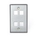 Leviton 43080-1S4 1-Gang Wallplate; Snap-In, (4) Port, 304 Stainless Steel