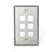 Leviton 43080-1S6 1-Gang Wallplate; Snap-In, (6) Port, 304 Stainless Steel