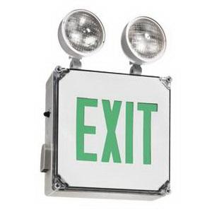 Cooper Lighting AP70DGWHDHSQ Sure-Lites® Self Powered AP Series Exit/Emergency Light; 120/277 Volt, 3.1 Watt At 277 Volt, White, Premium Deep Green Letter