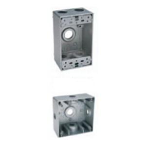 BWF/Teddico B5-22XV 1-Gang Weatherproof Outlet Box; 5 Threaded Outlet, Die-Cast Metal, Gray