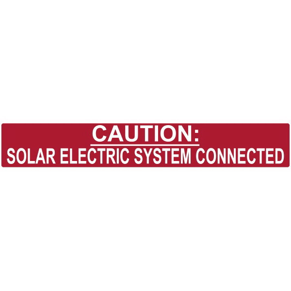 Hellermann Tyton 596-00245 Pre-Printed Reflective Solar Label 6.500 Inch Width x 1 Inch Height- White/Red- CAUTION SOLAR ELECTRIC SYSTEM CONNECTED- 50/Roll-