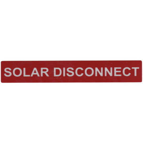 Hellermann Tyton 596-00246 Pre-Printed Reflective Solar Label 6.500 Inch Width x 1 Inch Height- White/Red- SOLAR DISCONNECT- 50/Roll-
