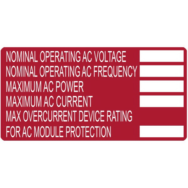 Hellermann Tyton 596-00252 Printable Solar Label 4 Inch Width x 2 Inch Height- White/Red- NOMINAL OPERATION VOLTAGE- MAXIMIUM AC POWER- 50/Roll-