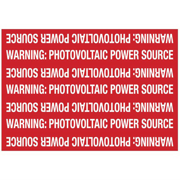 Hellermann Tyton 596-00208 Pre-Printed Solar Marker 7.250 Inch Width x 5 Inch Height- White/Red- WARNING PHOTOVOLTAIC POWER SOURCE- 50/Roll-