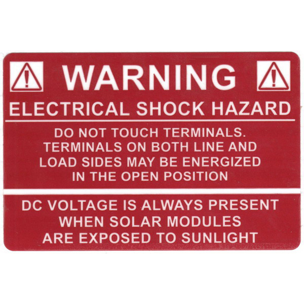 Hellermann Tyton 596-00232 Pre-Printed Solar Label 3.750 Inch Width x 2.500 Inch Height- White/Red- WARNING ELECTRICAL SHOCK HAZARD- 50/Roll-